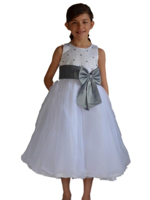 robe mariage fille blanche et grise morgane - Vetement Pour Ceremonie De Mariage