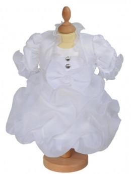 vêtement de baptème blanc avec boléro MANON.