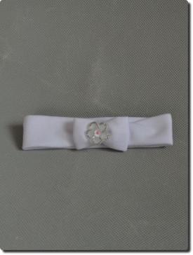 Bandeau cheveux blanc et argent bébé