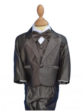 Costume de cérémonie bébé marron 5 pièces David, tenue pour bébé garçon mariages pas chère