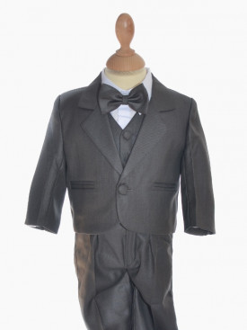 Costume garçon cinq pièces gris pour mariage Vincent