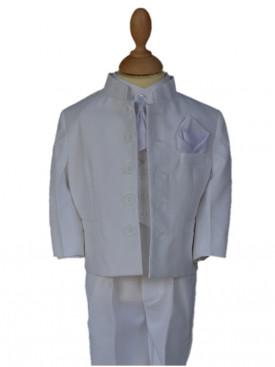 Costume col mao blanc pour baptême TRISTAN