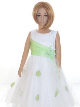 Robe cérémonie fille blanche et vert anis LALIE, nouvelle collection tenue de cortège enfants