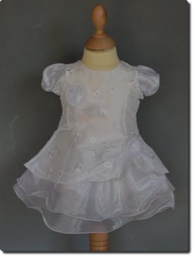 Robe de cérémonie blanche brodée APOLINE pour baptême.