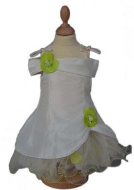 Robe de cérémonie fille pétales vert anis JULIA