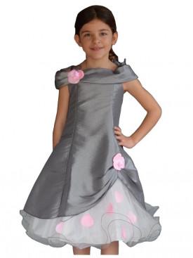 Robe de cérémonie pour fille pétales grise et rose NIKITA