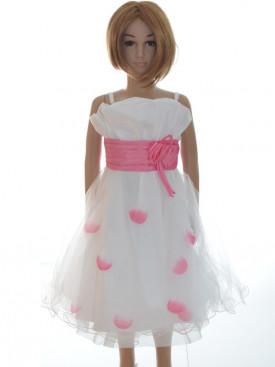 robe ceremonie fille blanche et rose SANDRINE pas chère