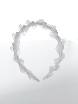 Serre-tête de cérémonie blanc JADE, accessoire pour parfaire coiffures pour cérémonie baptême à petit prix