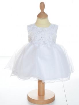 Robe de baptême blanche avec bonnet fille ANGÉLA