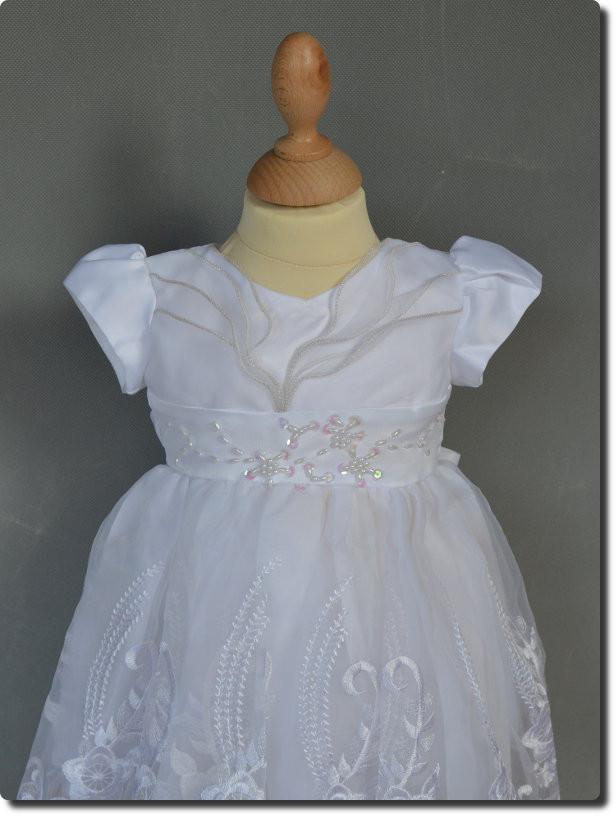 01cf1e93b9495 Robe de bâpteme blanche fille SOPHIE. Robe de baptême blanche