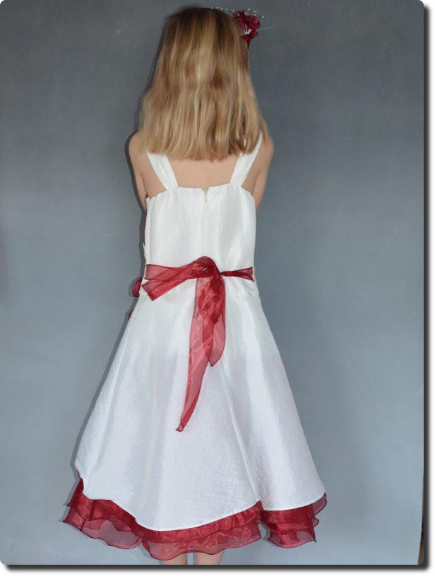 a04be4b2cf661 Robe pour cérémonie fille ivoire et bordeaux avec étole MARGOT