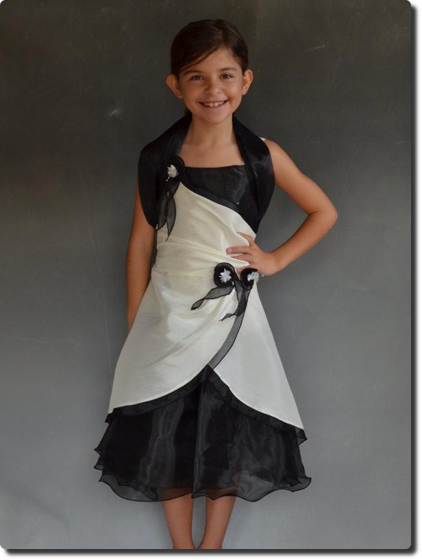 robe de c r monie pour fille demoiselle d 39 honneur noir lina. Black Bedroom Furniture Sets. Home Design Ideas