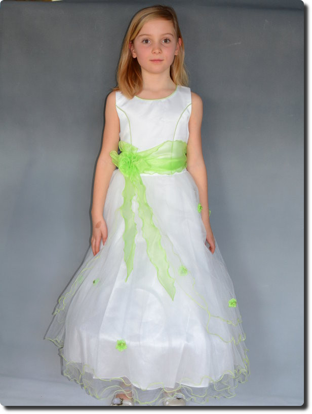 ee3e23ac06021 Robe de cérémonie fille vert anis ELISA