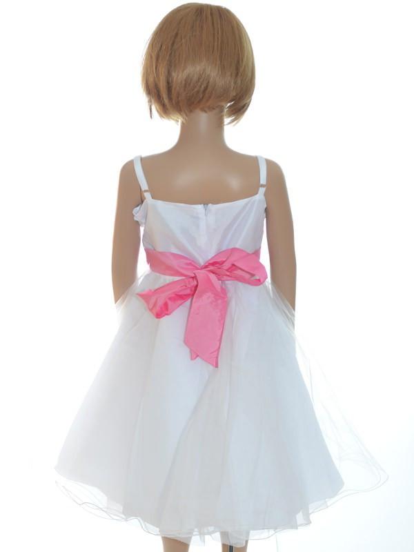5ac8da3308 Robe de cérémonie fille blanche et rose pas chère SANDRINE
