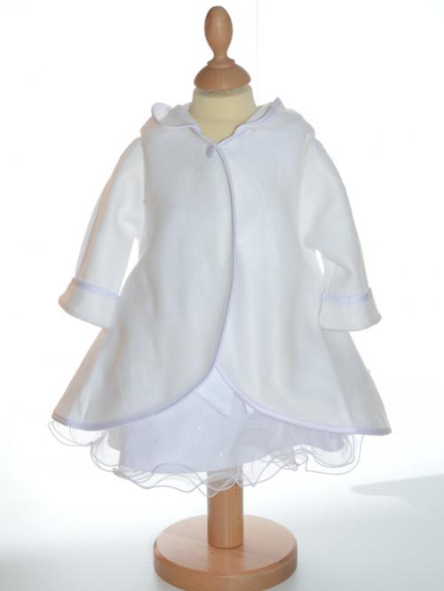 Manteau cape blanc, mixte pour baptême, petit prix