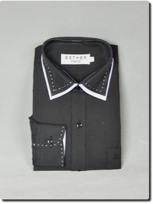 Chemise de cérémonie garçon manche longue bi-color noir et blanche