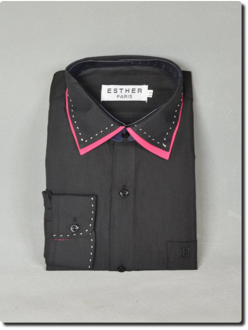 Chemise garçon manche longue bi-color noir/fuchsia