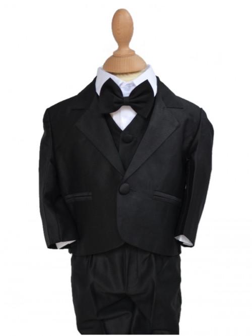 Costume de cérémonie pour bébé garçon noir 5 pièces TOM, tenue de mariage pour enfant garçon pas chère