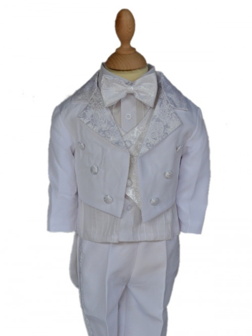 costume mariage bébé blanc queue de pie avec noeud papillon LORENZO, smoking enfants garçons pas chère et chic