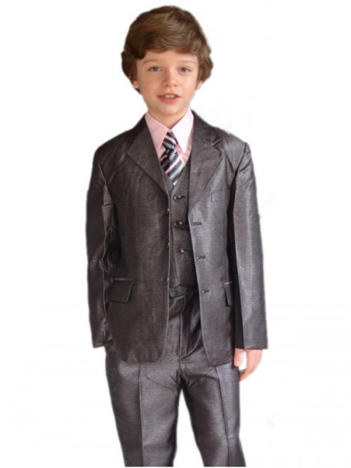Costume garçon de cérémonie choco satin PAUL, costume avec reflet satiné choco