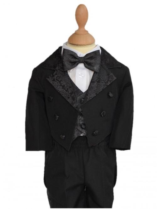 smoking de cérémonie garçon queue de pie noir, petit prix costumes garçon pour cérémonie à l'allure chic