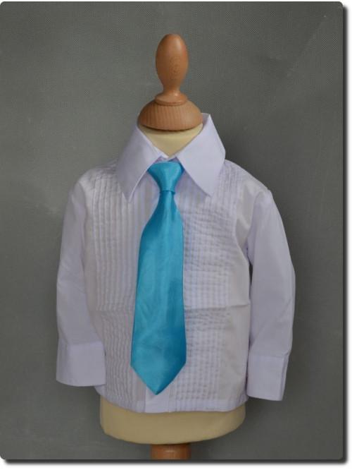 Cravate satin turquoise pour garçon