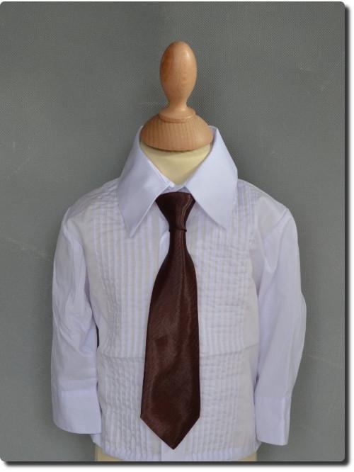 Cravate satin choco foncé pour garçon