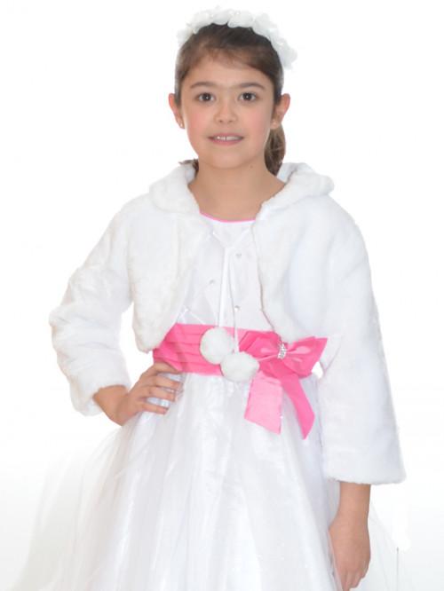 Manteau blanc pour baptême fille à petit prix