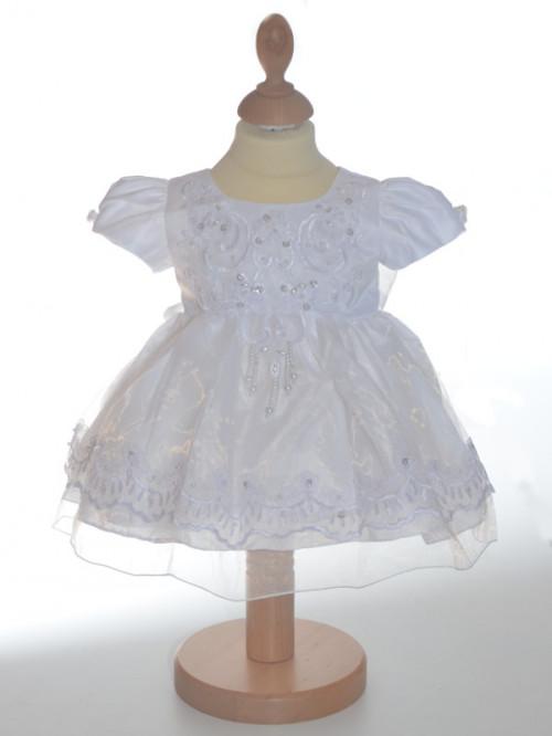Robe de baptême blanche traditionnel avec voile CASSANDRE