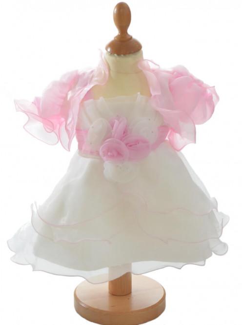 robe baptême fille couleur blanche et rose