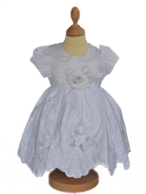 Vêtement de baptême blanc traditionnel avec bonnet PERRINE,