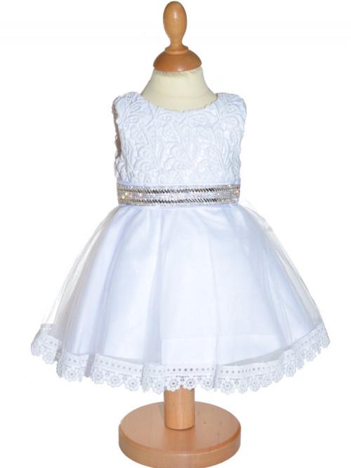 Robe pour baptême blanche bébé LILA