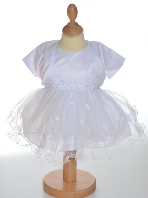 Robe blanche de baptême fille avec boléro ADRIANA