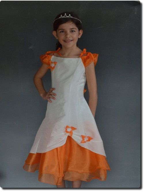 Robe pour mariage enfants, tenue de cortège orange pour fille