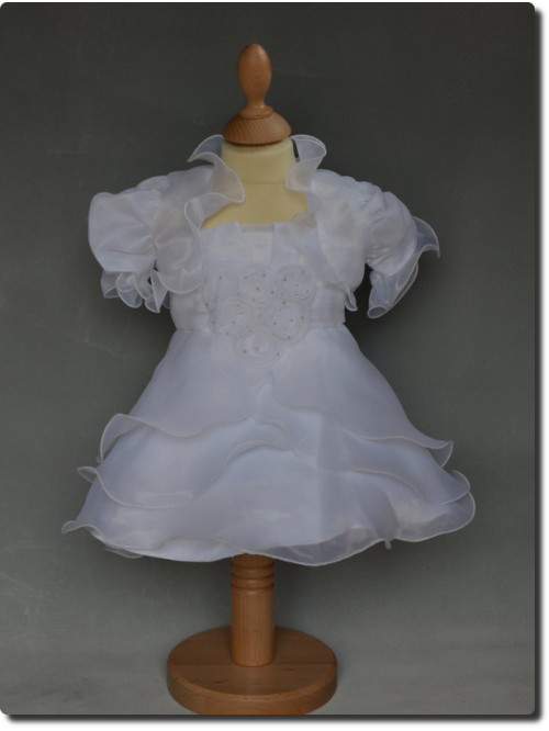 Robe de bapteme fille blanche avec boléro LOLA, tenue de baptême blanche pour fille,