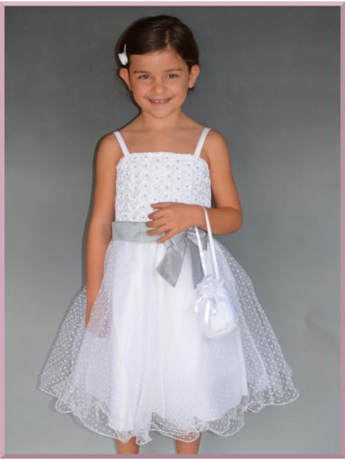 Robe blanche et grise pour cortège demoiselle d'honneur enfants pas chère