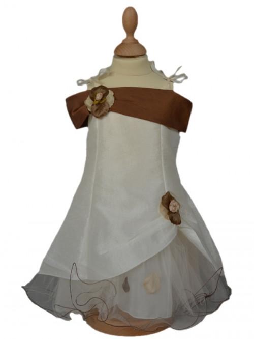 Vêtement de cérémonie bébé écru/choco pour cortège, mariage CHARLOTTE