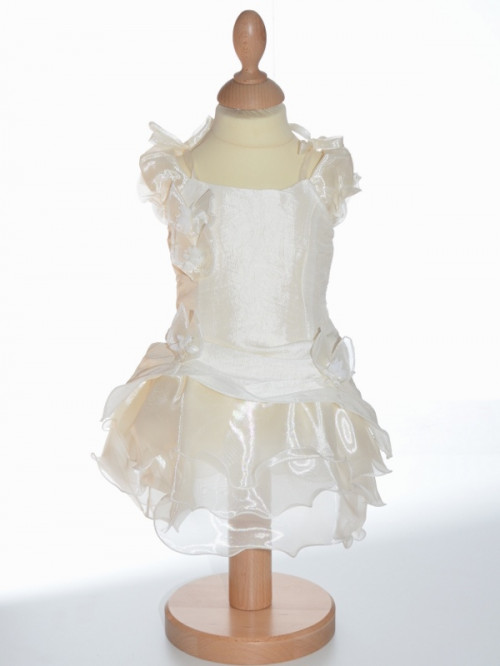 Robe de cérémonie volants petite fille couleur ivoire pour cérémonie, vêtement de baptême, vêtement pour mariage petite fille, MONA