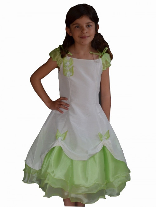 Robe de cérémonie fille pour cortège, demoiselle d'honneur vert anis