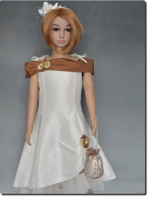 Robe de cérémonie fille cortège écru/choco CHARLOTTE