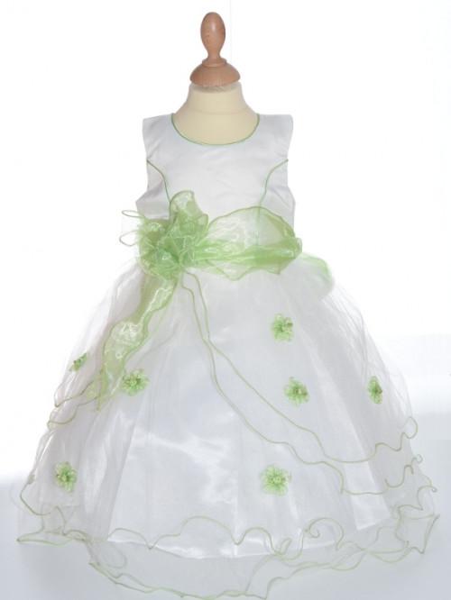 Robe de cérémonie fille bébé vert anis ELISA