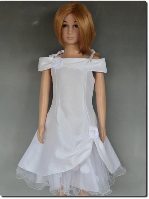 Robe de cérémonie fille pétales blanche ROMANE