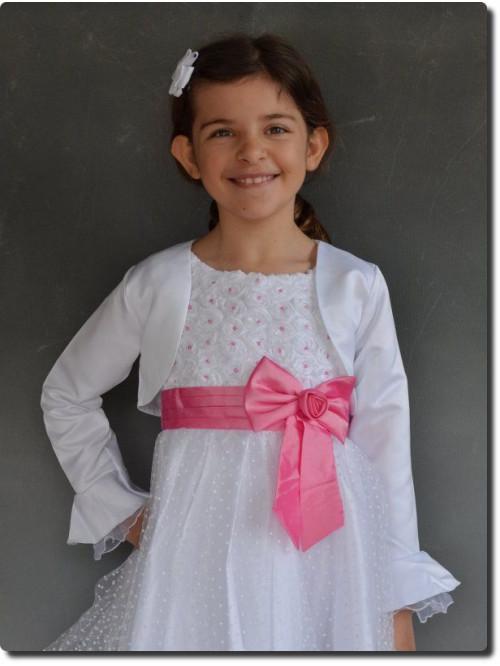 Boléro enfant blanc cortège SELENA, mariages, baptême, communion