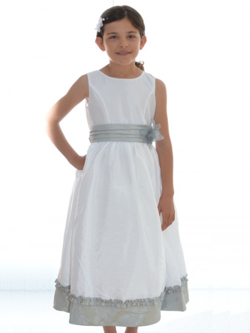 Robe cérémonie pour enfants couleur blanche et grise DIVA
