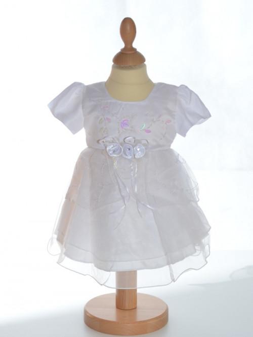 vêtement pour baptême bébé pas chère, robe blanche brodée
