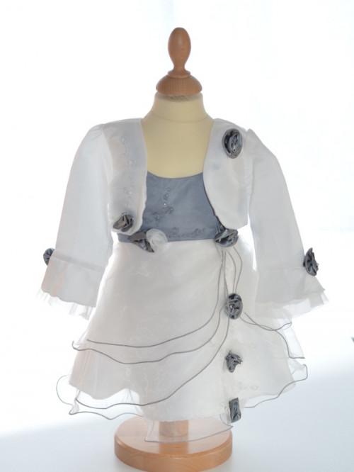 Robe mariage fille grise avec boléro LAURA