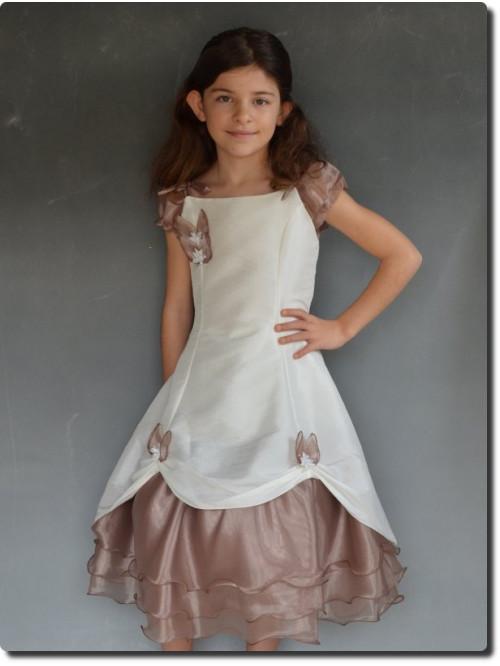 Robe de cérémonie fille cortège écru/choco PAULINE, fabrication française