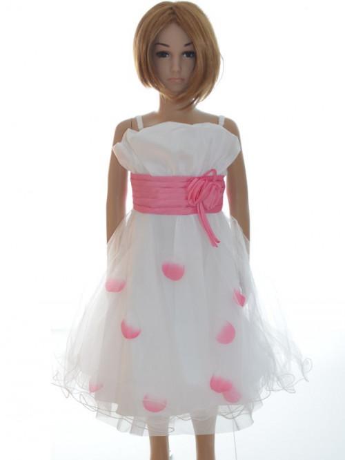 Robe de ceremonie fille blanche et rose SANDRINE pas chère