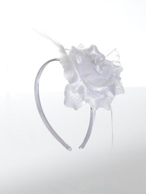 Serre-tête de cérémonie blanc satin pour fille  Albane, accessoire pour coiffure demoiselle d'honneur à petit prix