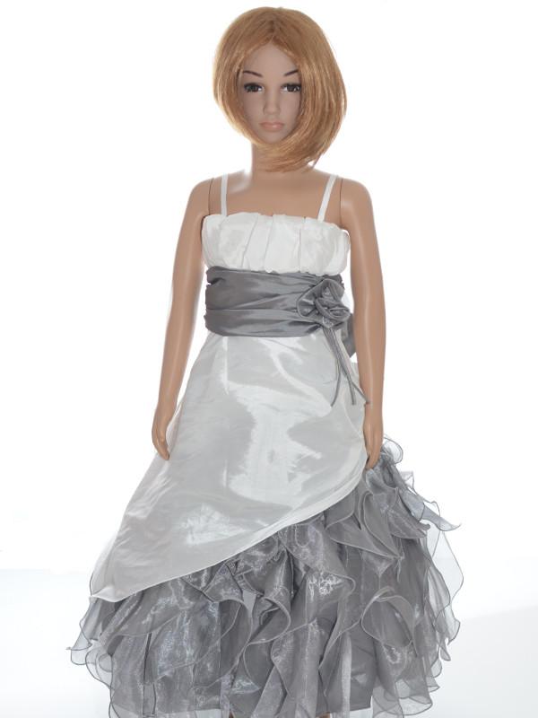Robe de ceremonie fille blanche et grise
